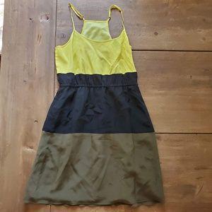 Broadway & Broome Colorblock Racerback Silk Dress